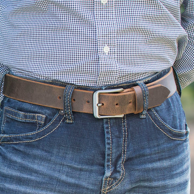 Roan Mountain Distressed Leather Belt by Nickel Smart - athenaallergy.com, genuine leather