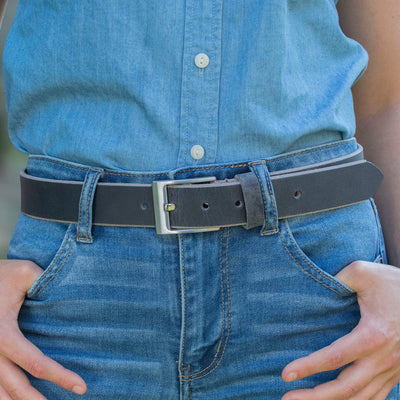 Square Wide Pin Distressed Leather Belt by Nickel Smart - athenaallergy.com, genuine leather