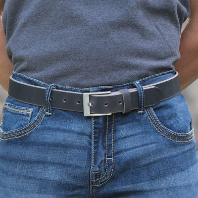 Square Wide Pin Distressed Leather Belt, Made in the USA