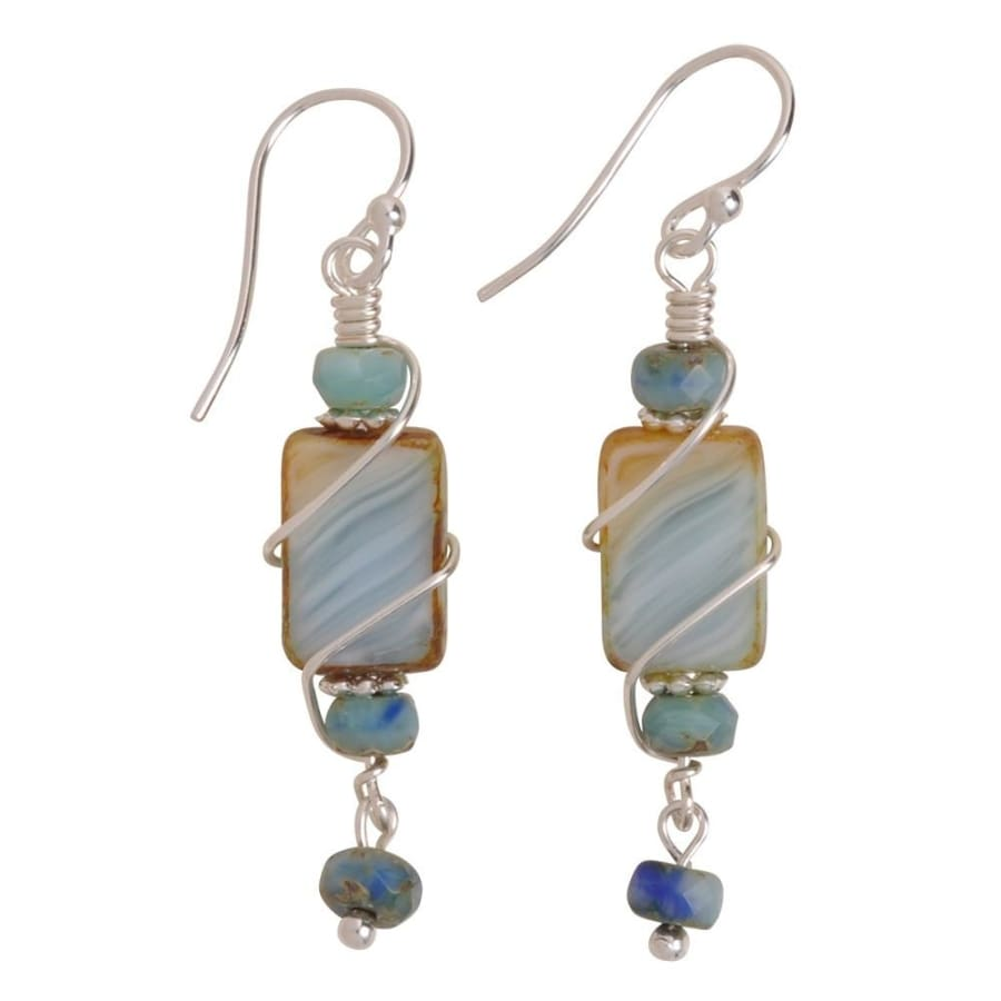 Handcrafted glass bead dangles in muted colors; guaranteed nickel free