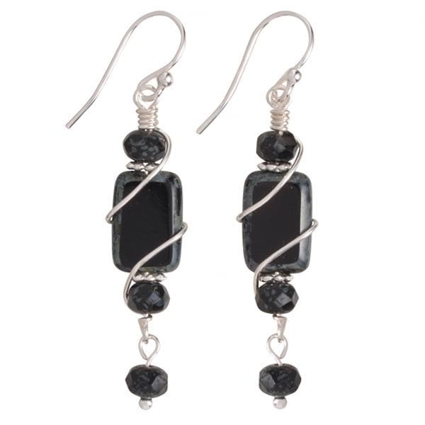 Handcrafted black glass dangles are guaranteed nickel free!