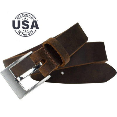Caraway Mountain Distressed Leather Brown Belt by Nickel Smart - athenaallergy.com, made in USA