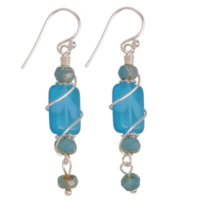 Handcrafted bright blue dangle earrings are nickel free!