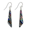 Handcrafted nickel free earrings in silver dichroic glass color mix