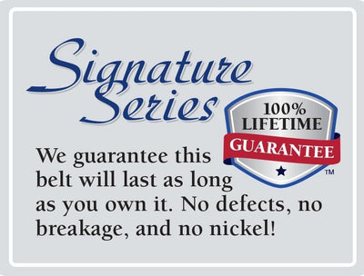 This nickel free belt has a lifetime guarantee  - no nickel, no defects, no breakage!