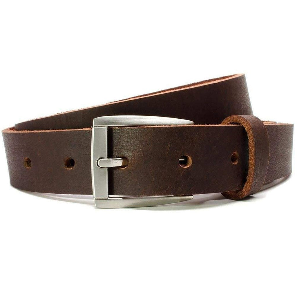 Nickel free full grain leather child's belt in brown; made in USA