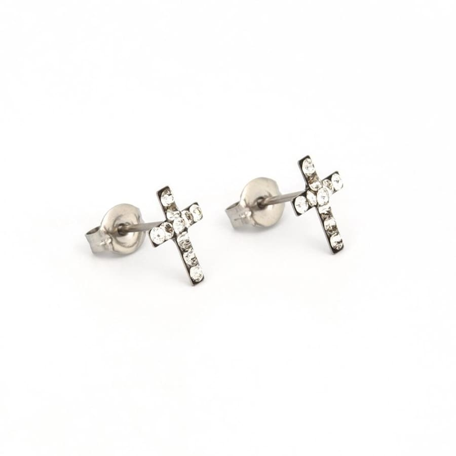 Crystal Cross Post Earrings by Nickel Smart®