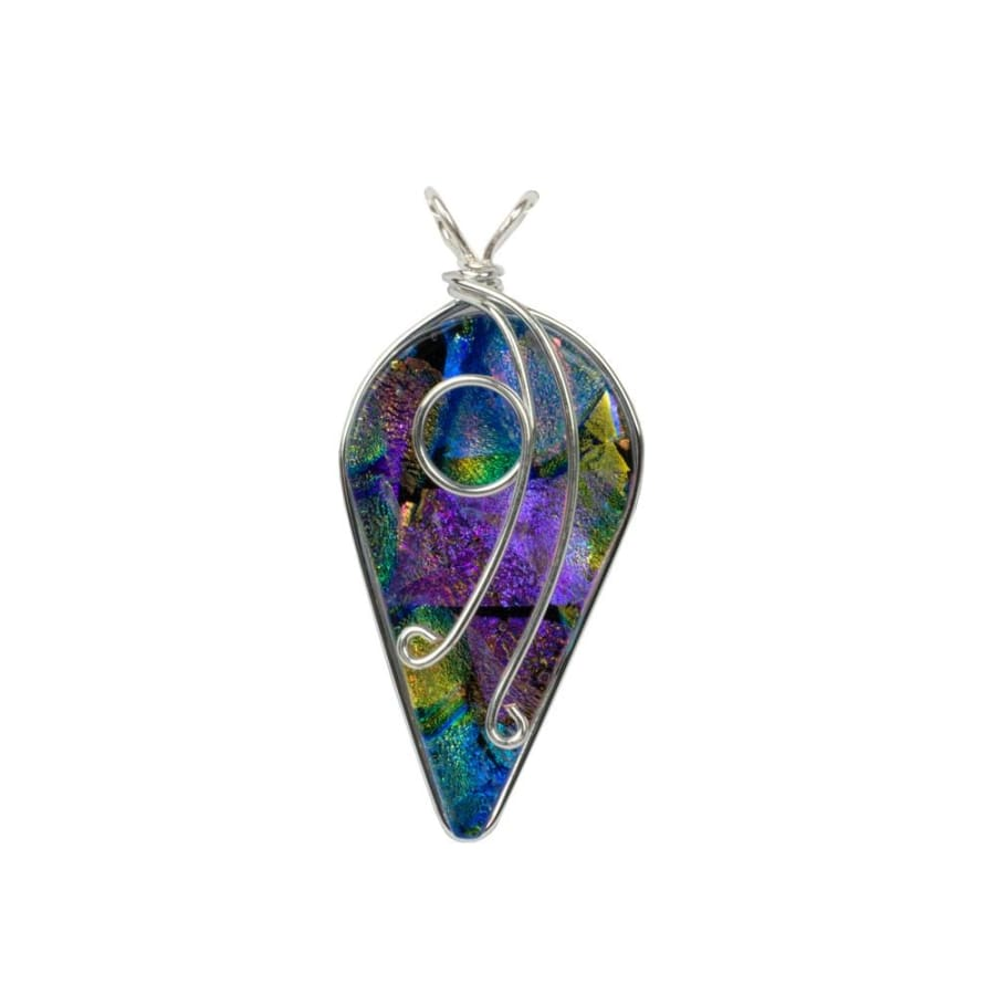 Beautiful pendant is made from colorful dichroic glass with a charming silver vine topping the look - all nickel free of course