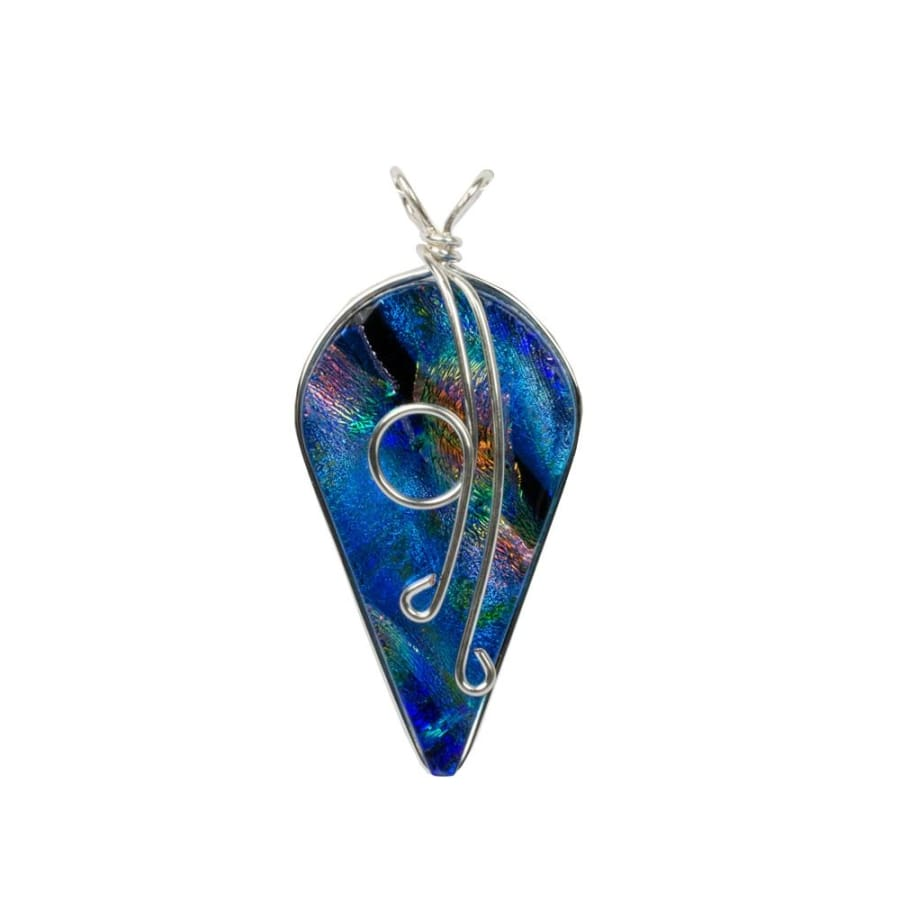 Dive into the depths of blue, rainbow blue dichroic glass nickel free pendant is made in the USA