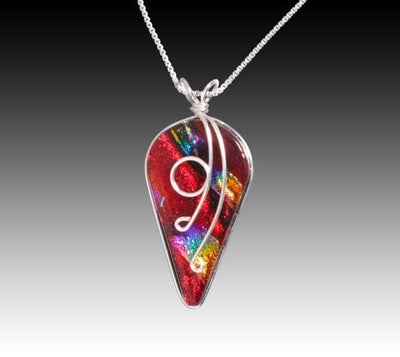 Ivy Pendant - Rainbow Red is shown here with a chain which is not included