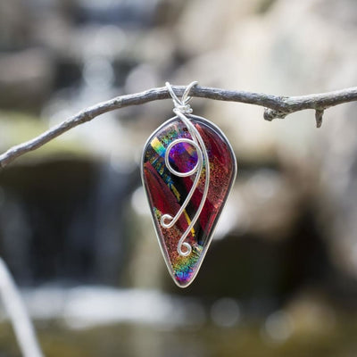 Nickel Free Dichroic Glass Pendant in stunning rainbow red