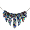 Dichroic glass nickel free necklace in silver and rainbow hues