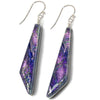 Queen Falls Nickel Free Earrings - purple/lilac dichroic glass is handmade in the USA