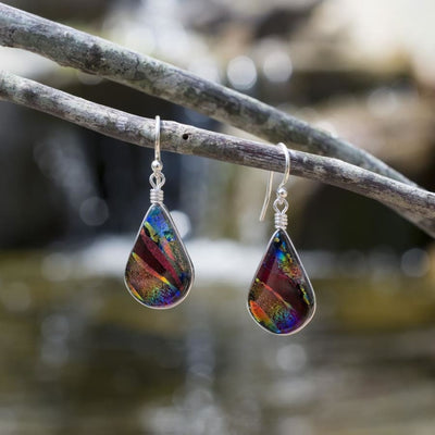 Rainbow Red Nickel Free Dichroic Glass Earrings