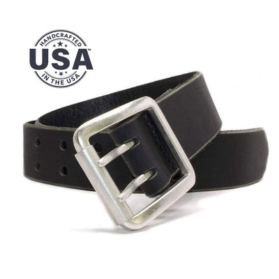 Made in the USA, black full grain leather belt strap has nickel free double pin buckle