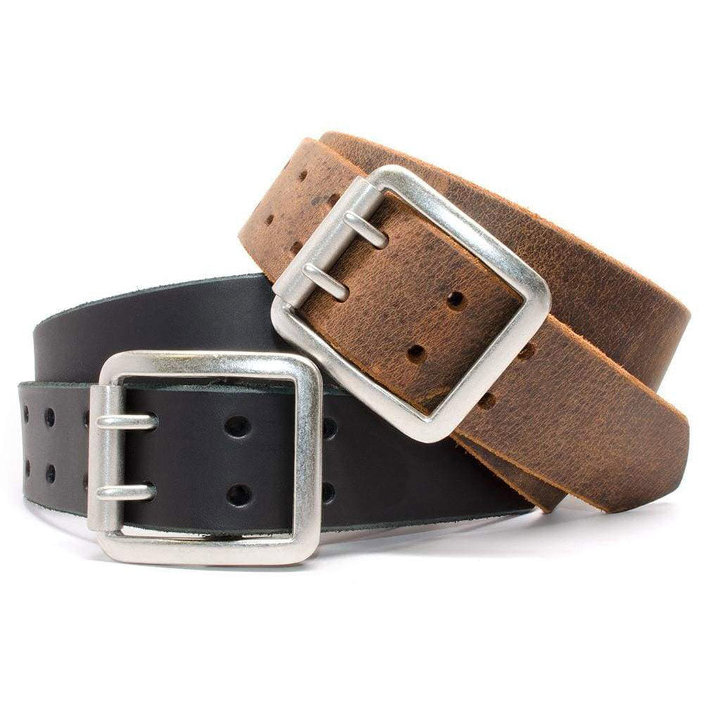 Ridgeline Trail Nickel Free Belt Set - durable genuine leather straps in black and distressed brown