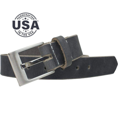 Made in USA, distressed gray leather strap is paired with compact nickel free buckle