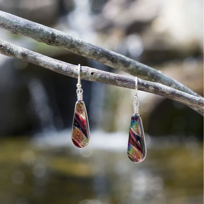 Rainbow Red Dichroic Glass sparkles in the light - Sunburst Falls Nickel Free Earrings