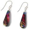 Small teardrop-shaped nickel free earrings in rainbow red dichroic glass