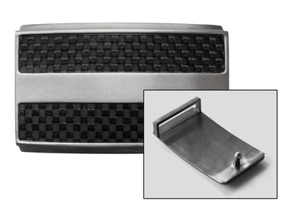 Titanium Hook Buckle is accented with the look of carbon fiber insets