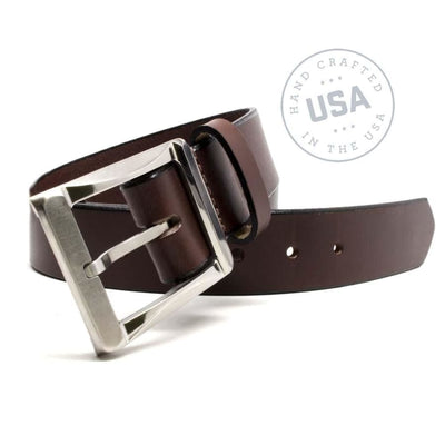 Made in USA of one solid piece of leather then paired with strong titanium buckle
