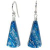 Window Waterfalls Nickel Free Earrings in Sea Blue Dichroic Glass