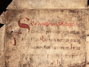 C12th leaf of a Sequential prayer book with rubricated red initials.