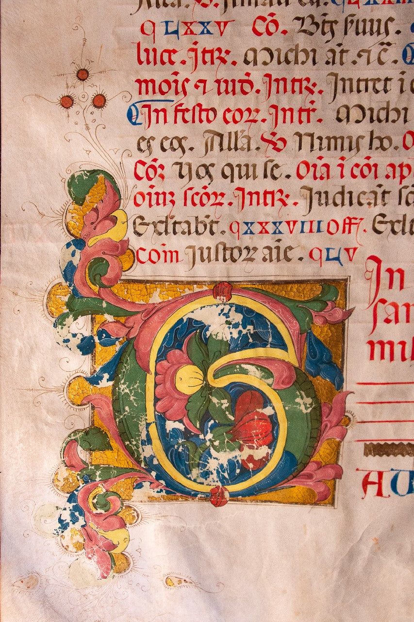 Illuminated inital 1500 huge leaf on vellum, from Siena or Florence.