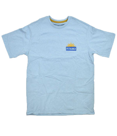 patagonia - stop the rise responsibili tee clear blue - front view graphic on the chest