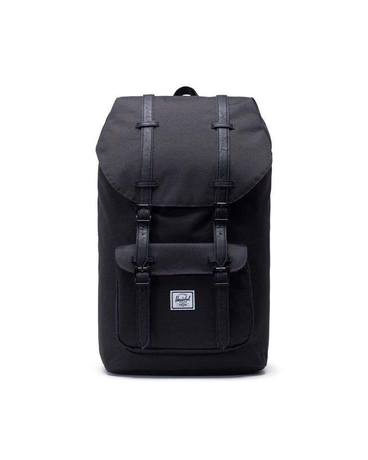 herschel-little america all black backpacks - front view