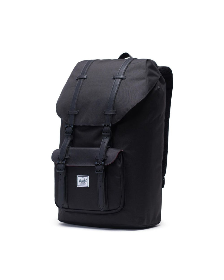herschel-little america all black backpacks - front close view