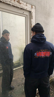 Stitch graff hoodie navy_back view
