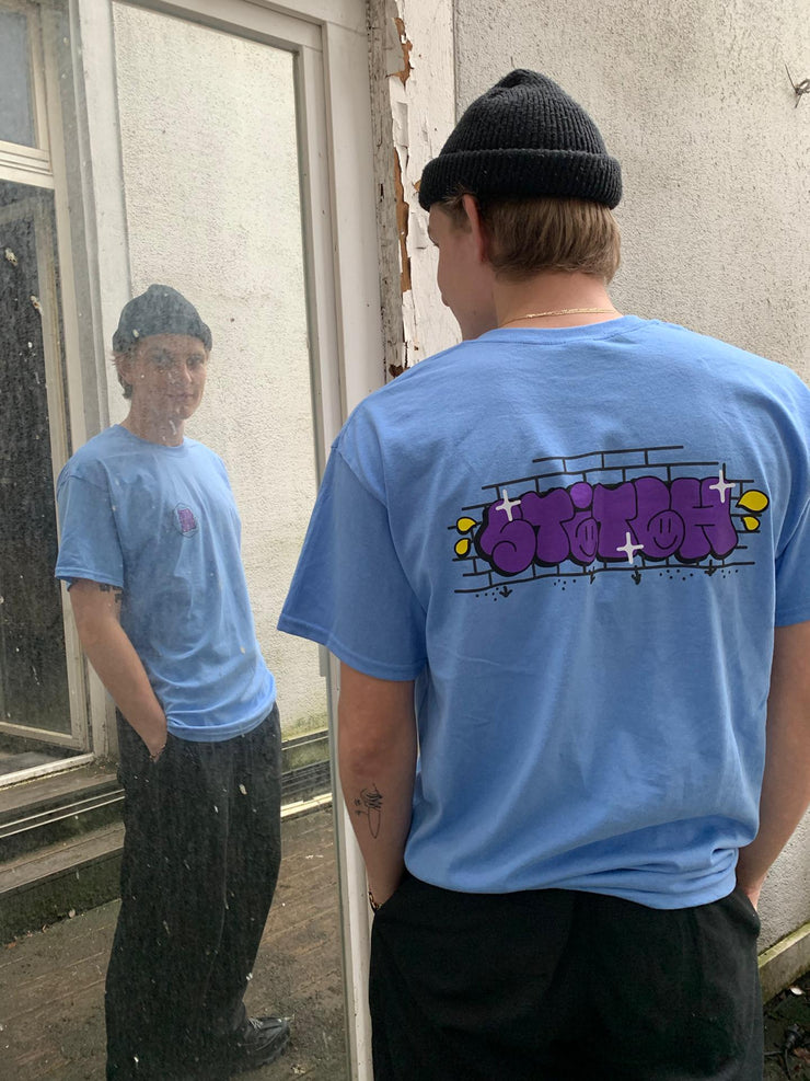 Stitch graff tee carolina blue_back view
