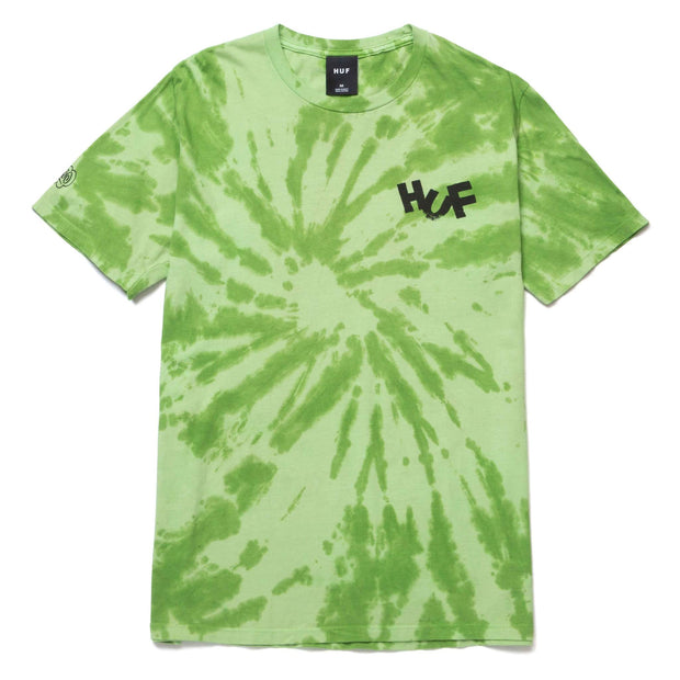 huf - haze brush tie dye tee green - front view
