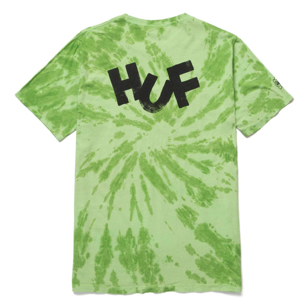 huf - haze brush tie dye tee green - back view