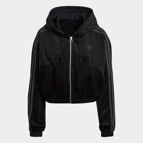 HOODED TRACK TOP CORDUROY BLACK