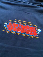 Stitch graff hoodie navy_back detailed view