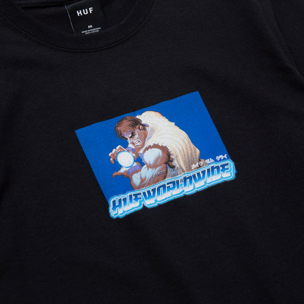 huf x streetfighter - ryu tee black- front print view