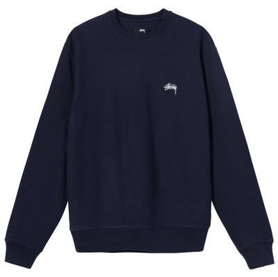 stussy_stock logo crew navy_front view