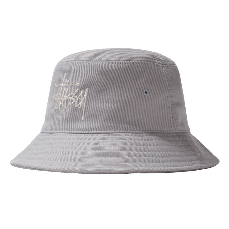 stussy_big logo bucket hat ice blue_front view
