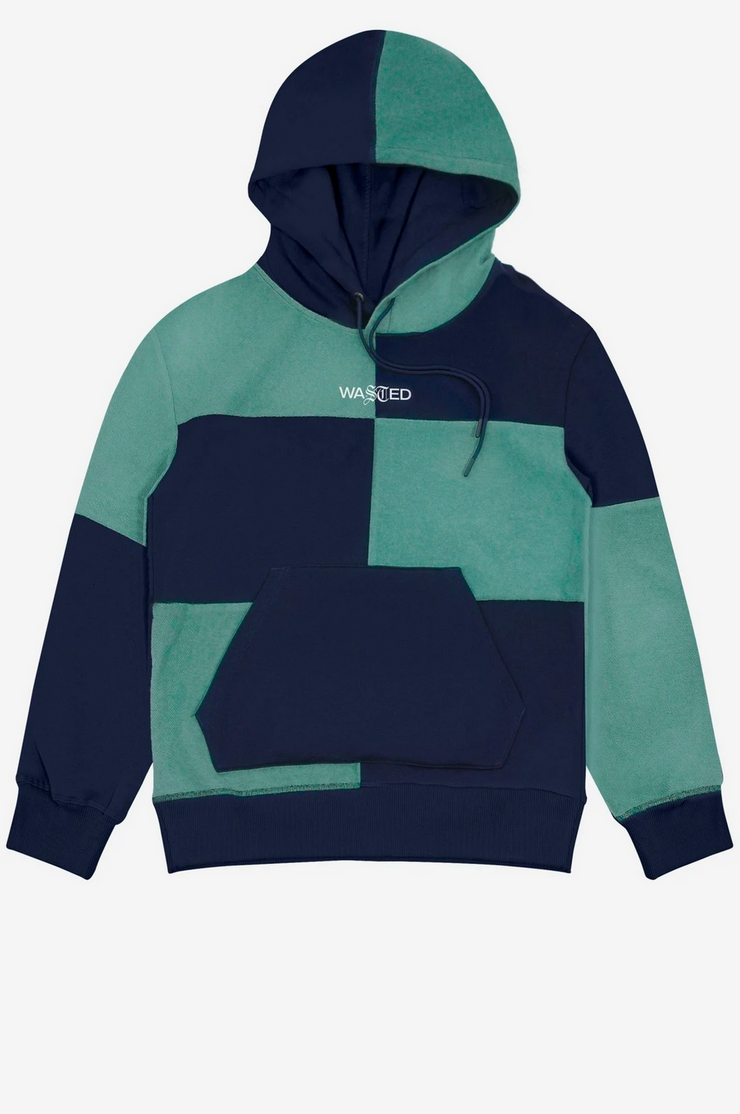 WASTED PARIS - patchwork hoodie blue - front view