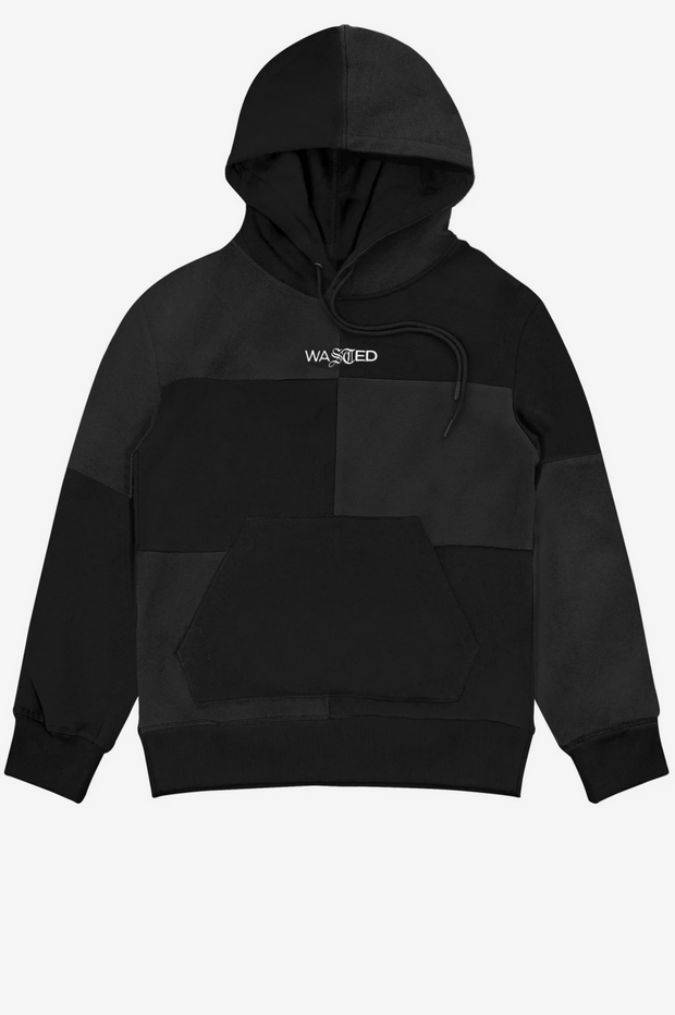 Wasted paris - patchwork hoodie black - front view