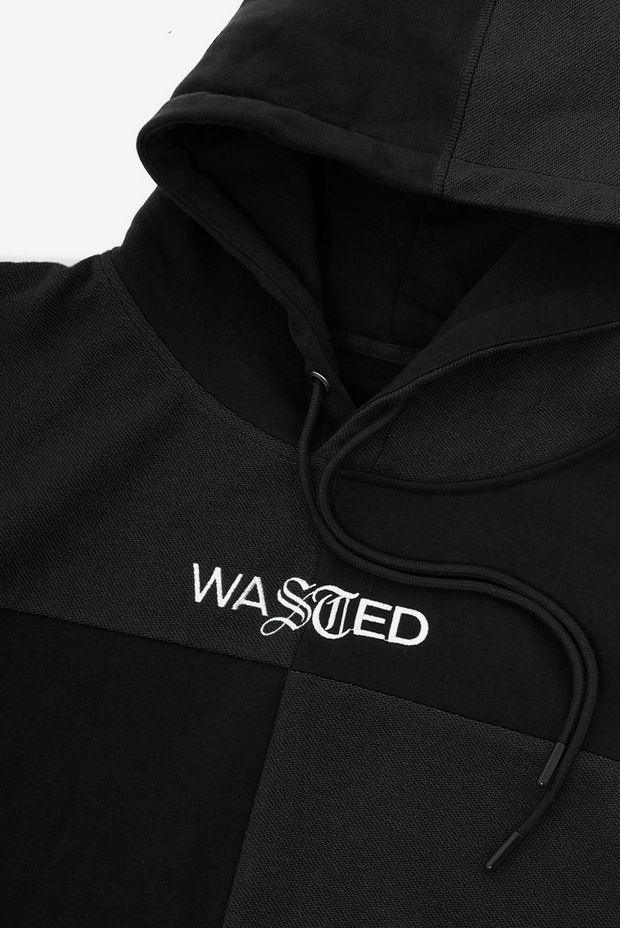 Wasted paris - patchwork hoodie black - detailed view