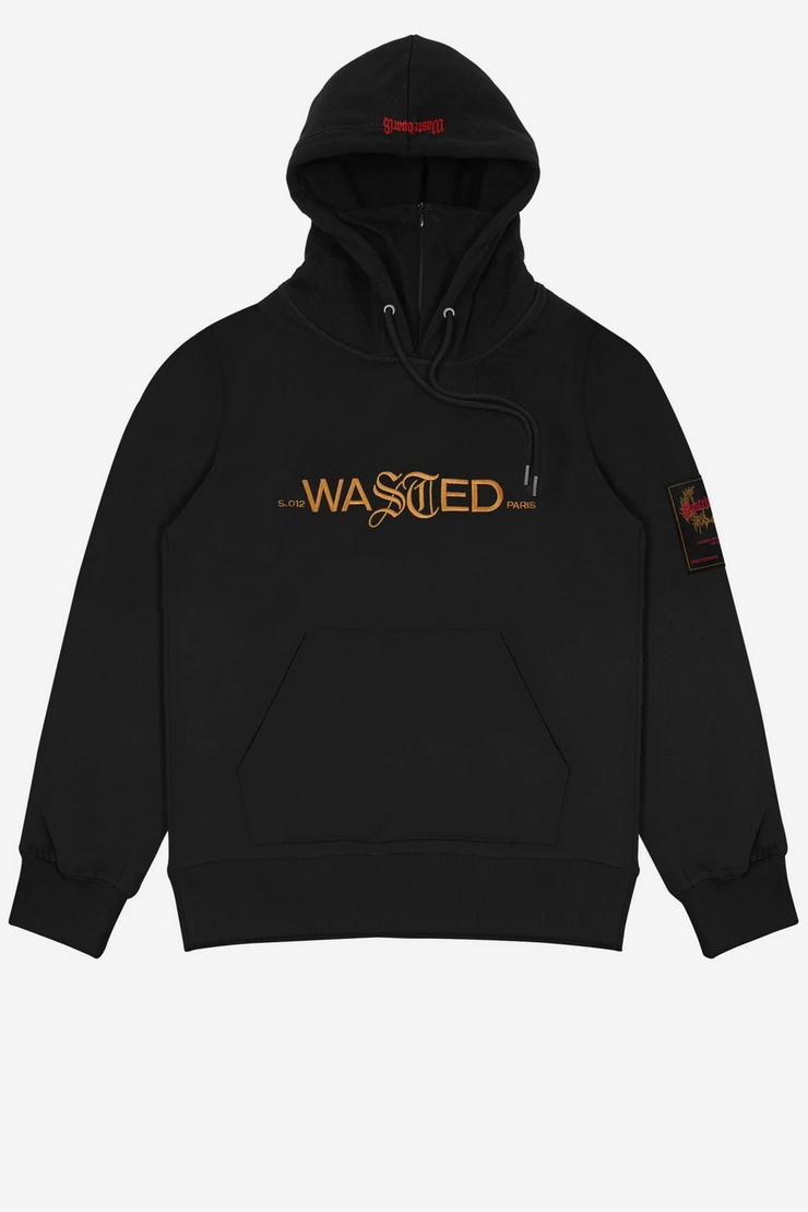 wasted paris - essential 21 hoodie black - front view