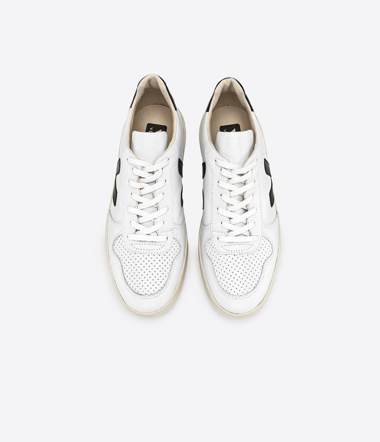 VEJA sneakers_V10 leather white/black women_top view