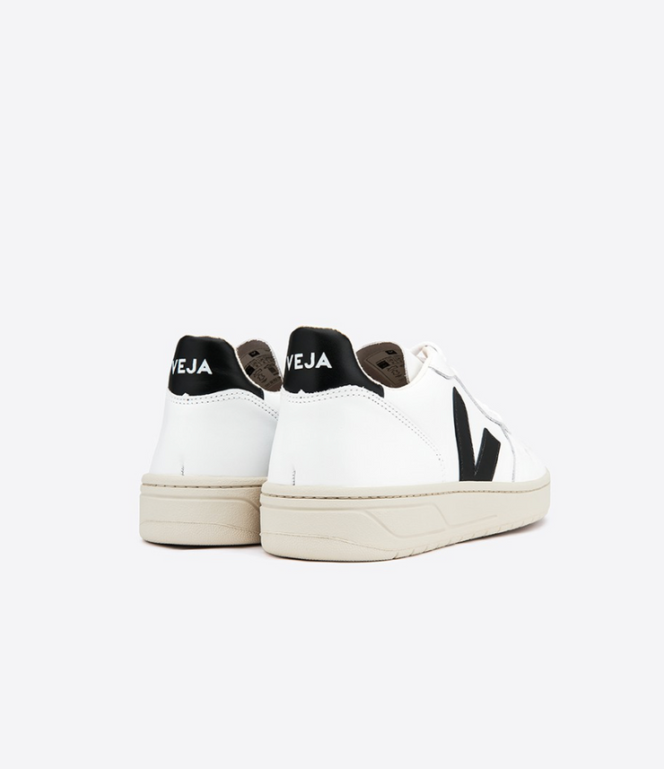 VEJA sneakers_V10 leather white/black women_back view