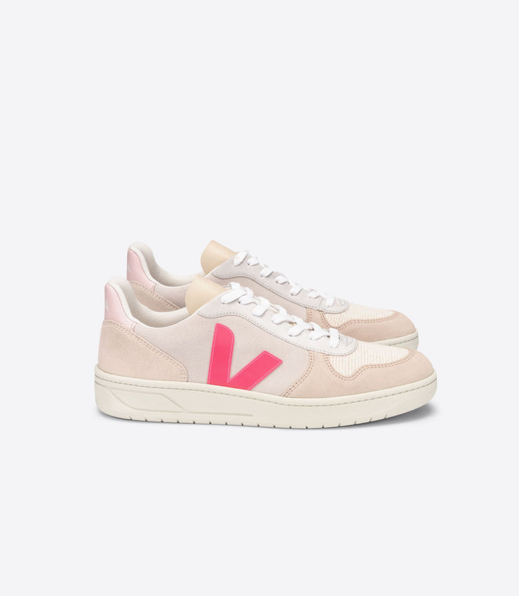 VEJA sneakers_V10 suede natural rose_side view