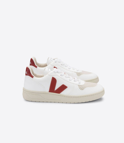VEJA sneakers_V-10 CWL VEGAN white rouille men_side view