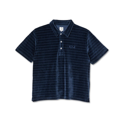 polar - stripe velour polo navy - front view