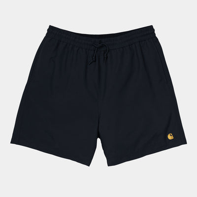 carhartt wip- chase swim trunk black with embroidered carhartt logo - front view
